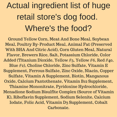 Actual ingredient list from a huge retailer's store brand dog food.