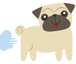 Cartoon of a pug dog farting
