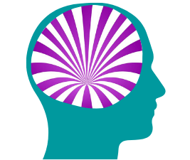 Depiction of sleepless: a silhouette of a human head with a whirl of purple and white seeming to drain into the brain.