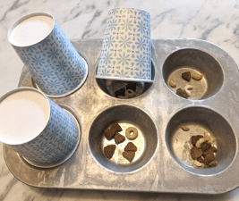 Muffin tin with treats for inside dog games