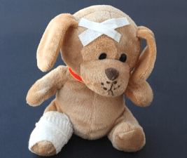 photo of a bandaged stuffed dog in pain